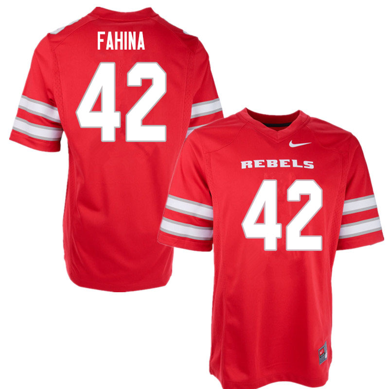 Men #42 Naki Fahina UNLV Rebels College Football Jerseys Sale-Red