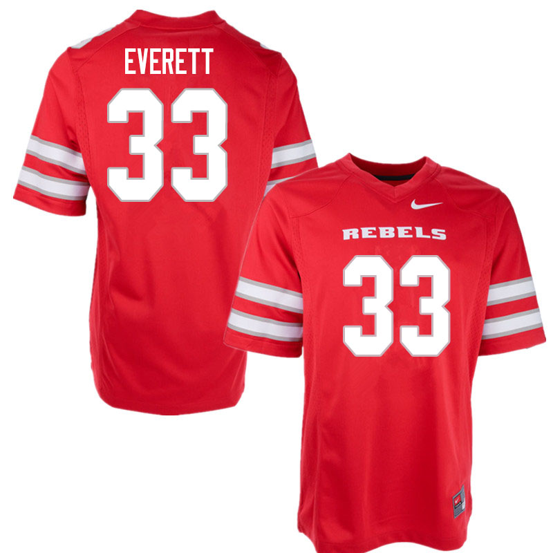Men #33 Sir Oliver Everett UNLV Rebels College Football Jerseys Sale-Red
