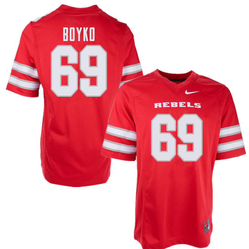 Men's UNLV Rebels #69 Brett Boyko College Football Jerseys Sale-Red