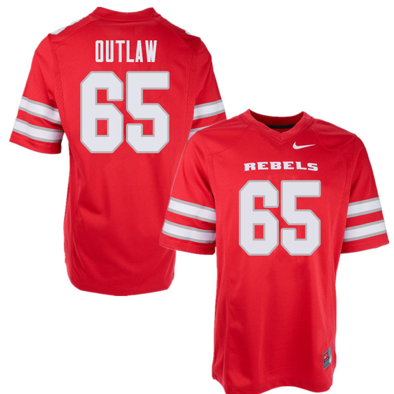Men's UNLV Rebels #65 Donovan Outlaw College Football Jerseys Sale-Red