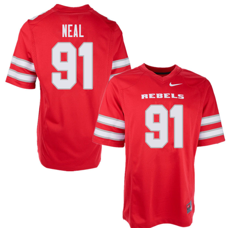 Men's UNLV Rebels #91 Nate Neal College Football Jerseys Sale-Red