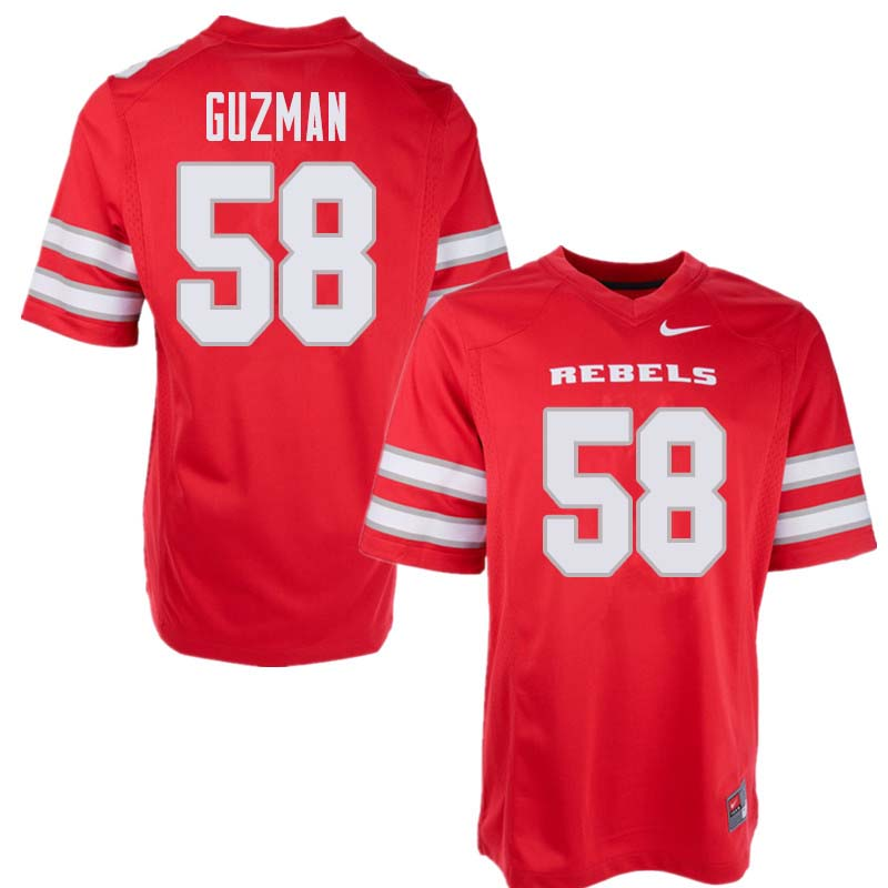 Men's UNLV Rebels #58 Nathan Guzman College Football Jerseys Sale-Red