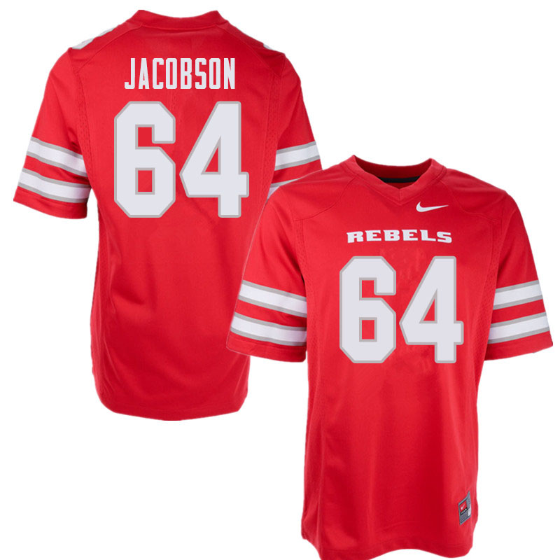 Men's UNLV Rebels #64 Nathan Jacobson College Football Jerseys Sale-Red