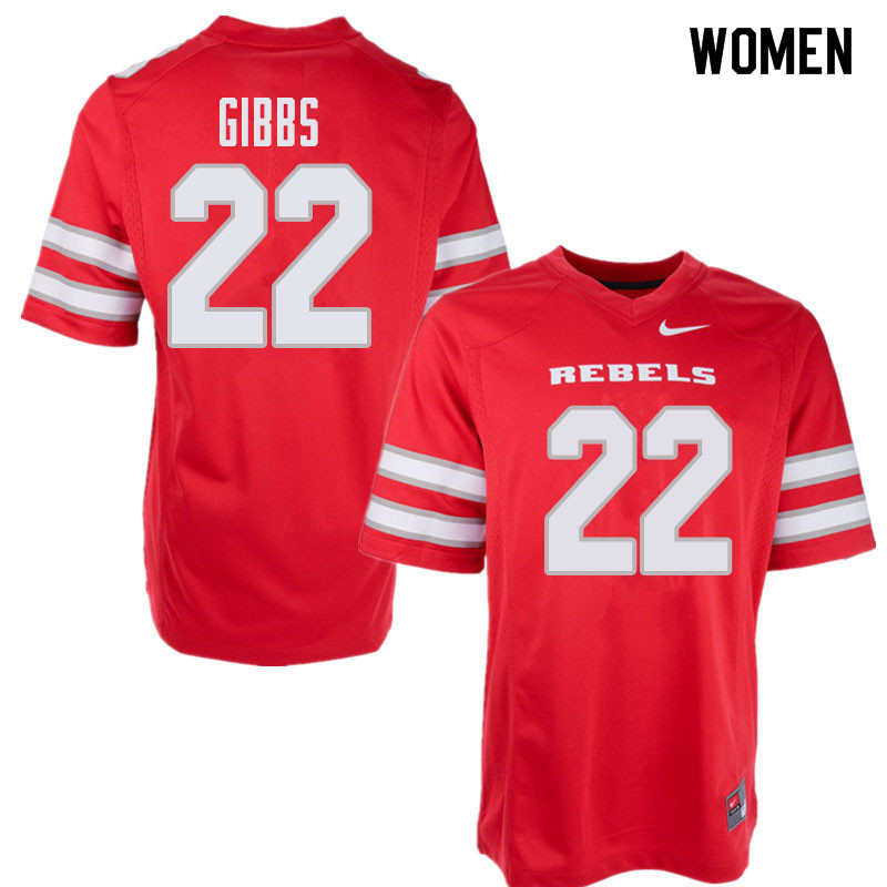 Women's UNLV Rebels #22 Demitrious Gibbs College Football Jerseys Sale-Red