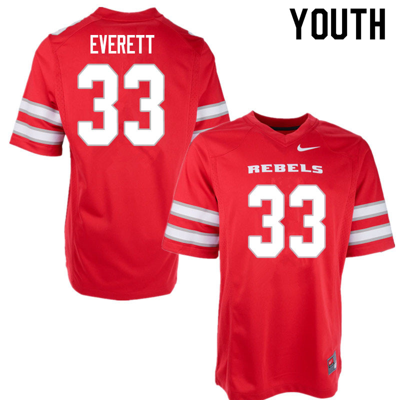 Youth #33 Sir Oliver Everett UNLV Rebels College Football Jerseys Sale-Red