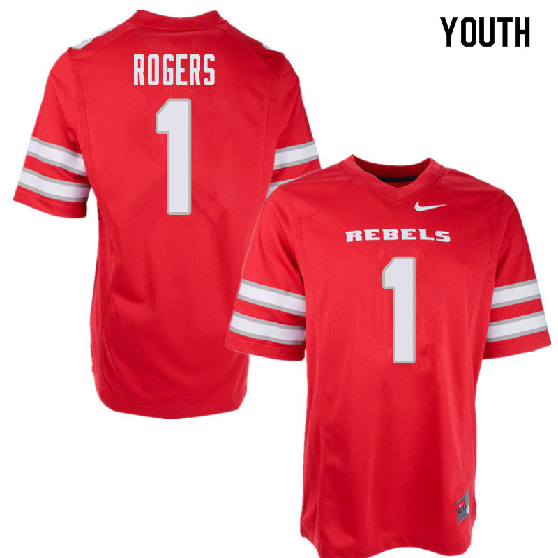 Youth UNLV Rebels #1 Armani Rogers College Football Jerseys Sale-Red