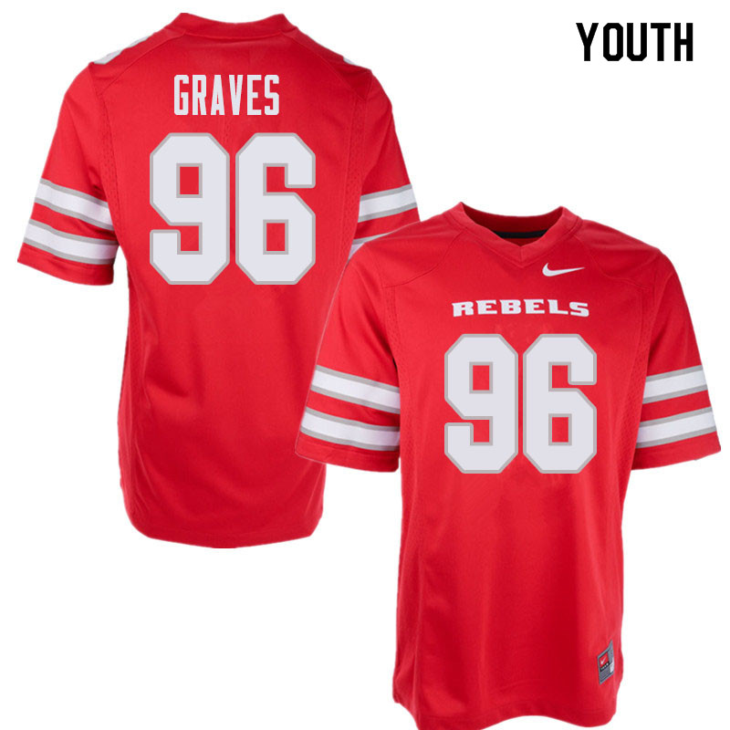 Youth UNLV Rebels #96 Jalen Graves College Football Jerseys Sale-Red