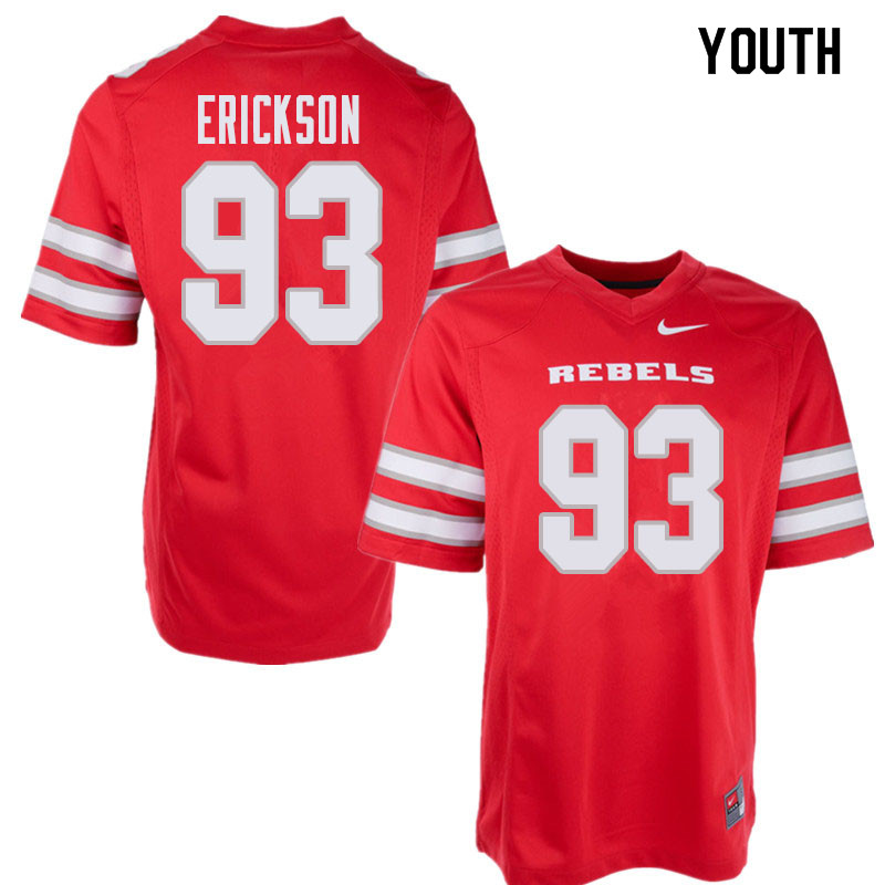 Youth UNLV Rebels #93 Riley Erickson College Football Jerseys Sale-Red